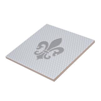 Fleur de Lis Grey Lilac Diamond Pattern Tile