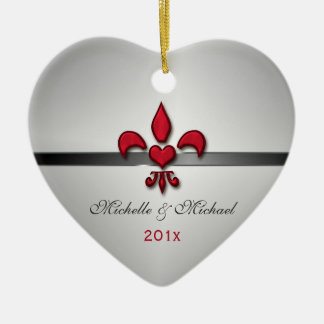 Fleur de Lis Heart Our First Christmas White Christmas Ornament