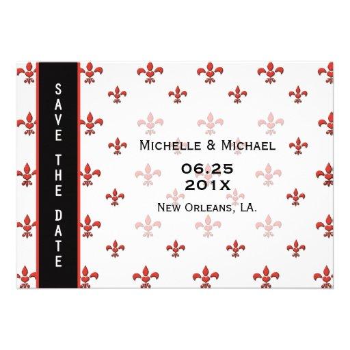 Fleur de Lis Heart Save the Date Cards
