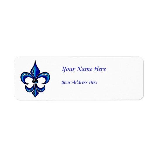 Fleur de Lis in Blue Return Address Label
