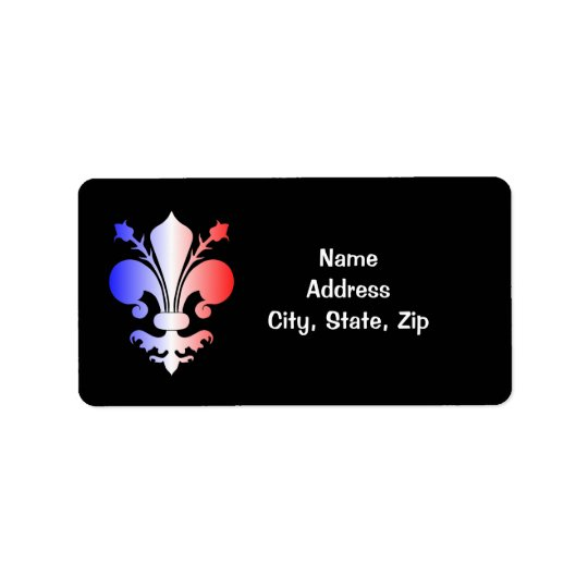 Fleur de lis in blue, white, and red address label