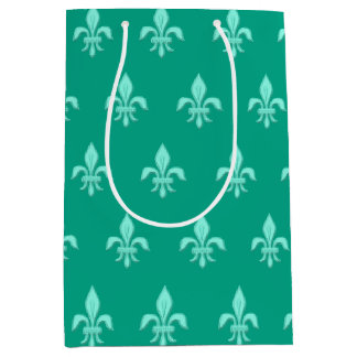 Fleur de Lis in Light Aqua on Turquoise Medium Gift Bag