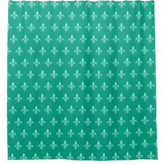 Fleur de Lis in Light Aqua on Turquoise Shower Curtain