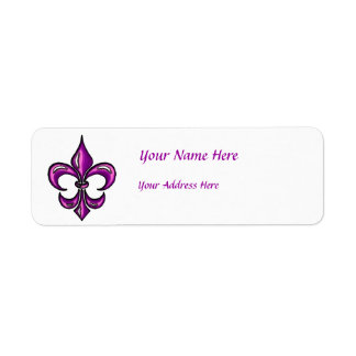 Fleur de Lis in Purple Lavender Return Address Label