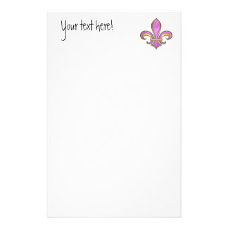 Fleur de Lis in solid color  - Pink or Cerise Personalised Stationery