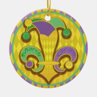 Fleur de lis Jester Double-Sided Ceramic Round Christmas Ornament
