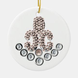 Fleur De Lis-jewelled Round Ceramic Decoration