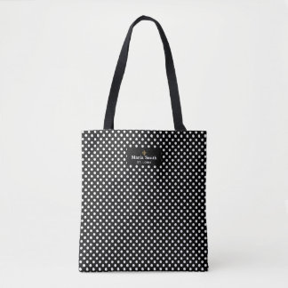 Fleur de Lis Label w/Black & White Polka Dots Tote Bag