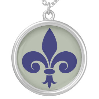 Fleur de lis lily silver plated necklace