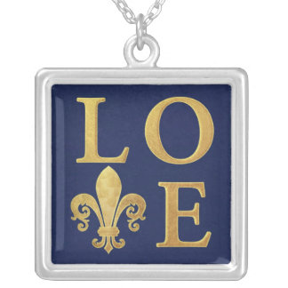 Fleur-de-lis love silver plated necklace