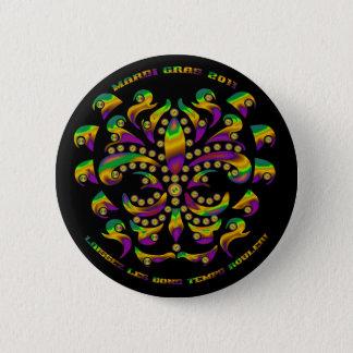 Fleur de lis Mardi Gras 2011 V-1 6 Cm Round Badge