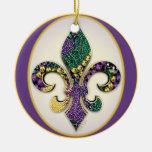 Fleur de lis Mardi Gras beads