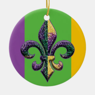 Fleur de lis Mardi Gras beads Round Ceramic Decoration