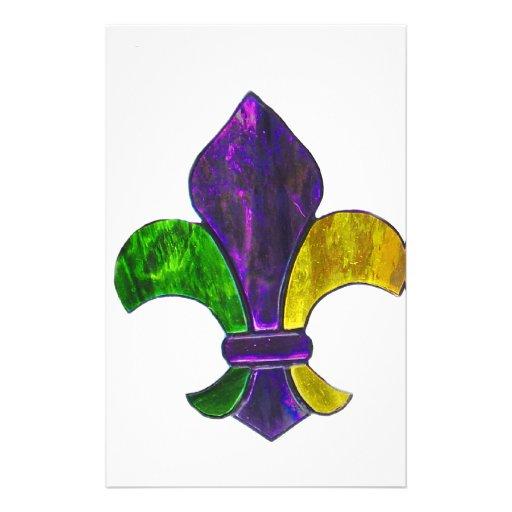Fleur De Lis Mardi Gras New Orleans Jewel Sparkle Custom Stationery