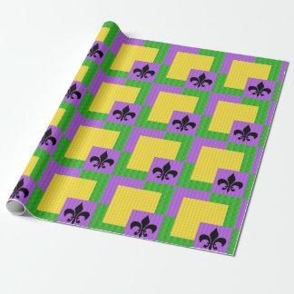 Fleur de Lis Mardi Gras Patterned Wrapping Paper