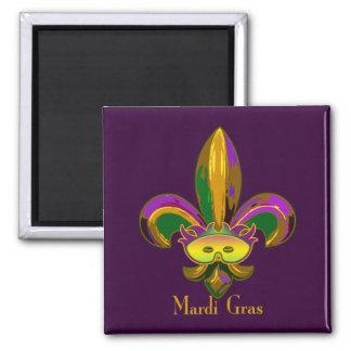 Fleur de lis Mask Square Magnet