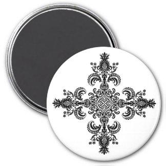 Fleur de lis Meditation 4 corners 7.5 Cm Round Magnet