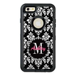 Fleur de Lis Monogram Damask Pattern OtterBox Defender iPhone Case