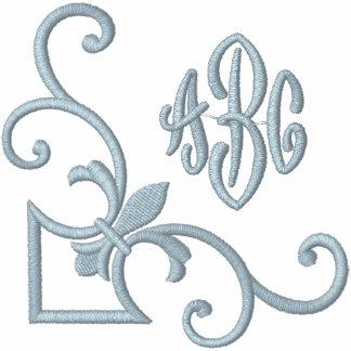 Fleur de Lis Monogram Embroidered Ladies Zipped Hoodie