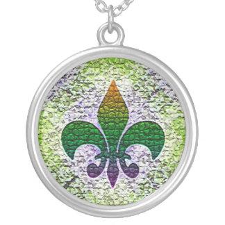 Fleur de Lis Mosaic Silver Plated Necklace