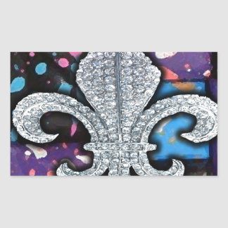 Fleur De Lis Mosaic Tile Purple  paint Rectangular Sticker