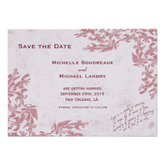 Fleur de Lis Muted Red Save the Date Custom Invitations