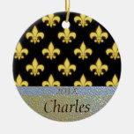Fleur de Lis New Orleans Black Gold Personalised Round Ceramic Decoration