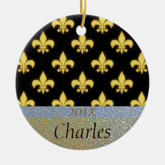 Fleur de Lis New Orleans Black Gold Personalized Christmas Ornament