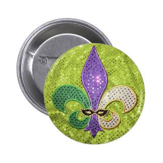 Fleur De Lis  New Orleans Jewel Sparkle 6 Cm Round Badge