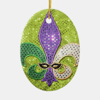 Fleur De Lis  New Orleans Jewel Sparkle Ceramic Oval Decoration