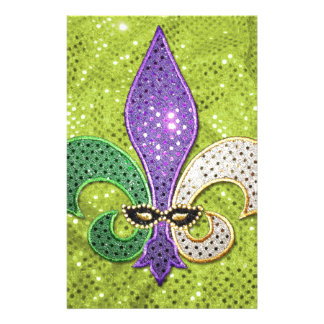 Fleur De Lis  New Orleans Jewel Sparkle Personalised Stationery