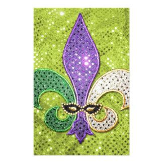Fleur De Lis  New Orleans Jewel Sparkle Stationery