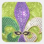 Fleur De Lis  New Orleans Jewel Sparkle Square Sticker