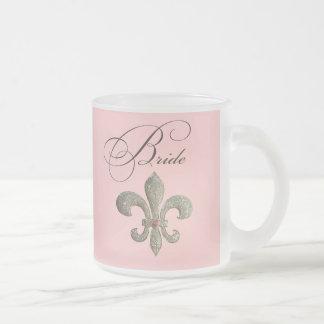 Fleur de lis NOLA Bride Bling Frosted Glass Mug