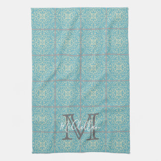 Fleur-de-lis Old World Vintage Tile Kitchen Towel
