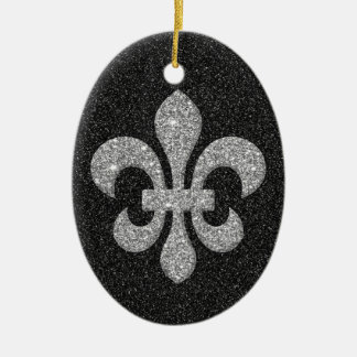 fleur-de-lis on black white glittery effect christmas ornament