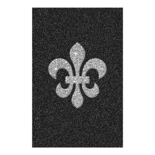 fleur-de-lis on black white glittery effect stationery