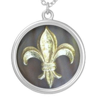 Fleur de lis on Brown Silver Plated Necklace