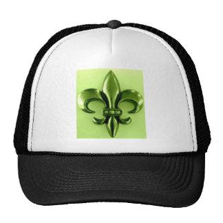 FLEUR DE LIS ON NEON LIME PRINT CAP