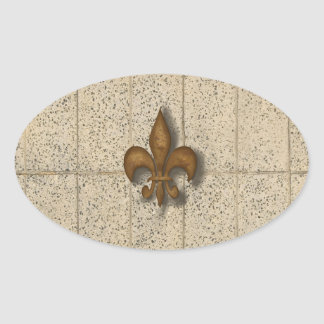 Fleur de Lis on Stone Oval Sticker
