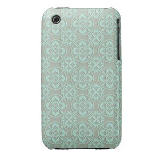 Fleur De Lis Pattern - Bright Mint and Khaki iPhone 3 Cases