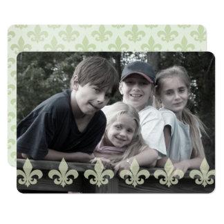 Fleur de Lis Pattern Double Sided Photo Card