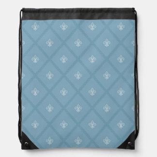 Fleur-de-lis pattern drawstring bag