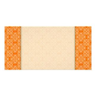 Fleur De Lis Pattern in Orange Customised Photo Card