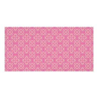 Fleur De Lis Pattern in Pink Personalised Photo Card