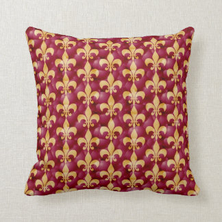 Fleur-de-Lis pattern in red and gold Cushion