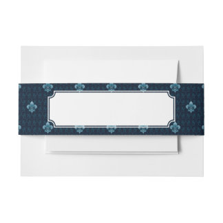 Fleur De Lis Pattern Invitation Belly Band