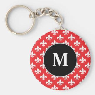 Fleur-de-lis pattern on Red Keychain