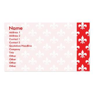 Fleur-de-lis pattern on Red Pack Of Standard Business Cards