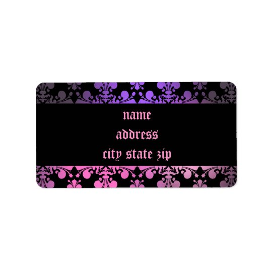 Fleur de lis pattern pink purple black address label